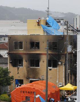 放火火災があった「京都アニメーション」のスタジオ=18日午後3時52分、京都市伏見区