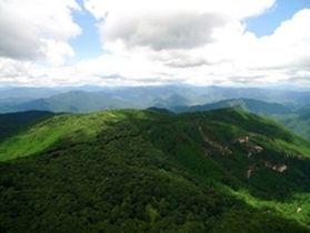 別選5名山に選ばれた「岡ノ上三山」の山容(宍粟市提供)