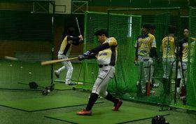 打撃練習で快音を響かせるを栃木GBの選手=小山ベースボールビレッジ