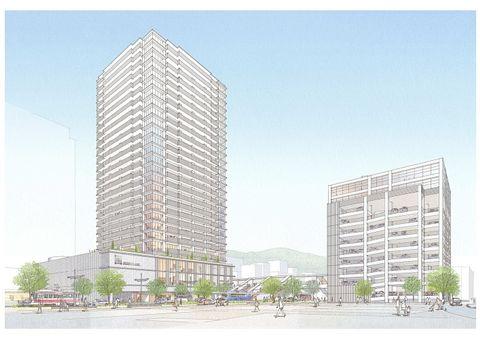 新大工町地区で計画される再開発事業の完成イメージ図(同地区市街地再開発組合提供)