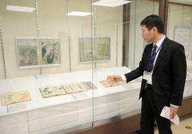 江戸時代の古文書が展示されている会場