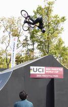 自転車BMXフリースタイル・パークの競技=19日、広島市