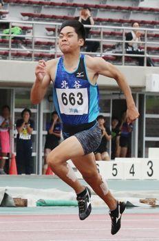 知名、男子100メートル2位 全九州高校体育大会