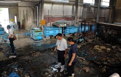 火事に遭ったウナギ養殖施設を確認する堀直彦さん(右から2番目)ら=16日午前、神戸市西区