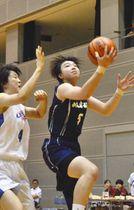 レイアップシュートを決める岐阜女子の藤田選手(右)=静岡県袋井市のエコパアリーナで