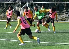 紅白戦形式の練習に臨む東海大福岡高女子サッカー部の選手たち