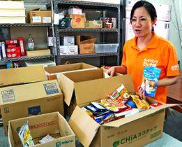 「もったいない食品をより有効活用できるようになれば」と語る奥平智子代表理事=24日、那覇市・フードバンクセカンドハーベスト沖縄
