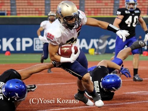 オービックDB島津がこの試合2本目のインターセプト=撮影:Yosei Kozano