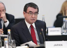21日、G20外相会合で発言する河野外相=ブエノスアイレス(アルゼンチン政府提供・共同)