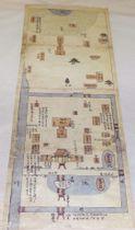 報道陣に公開された宗像大社辺津宮の「宗像社境内絵図」の複製=23日、福岡県宗像市