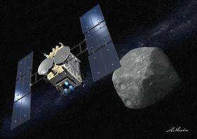 小惑星りゅうぐうに近づく探査機「はやぶさ2」の想像図(池下章裕さん提供)