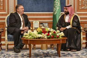 16日、リヤドでサウジアラビアのムハンマド・ビン・サルマン皇太子(右)と会談するポンペオ米国務長官(UPI=共同)