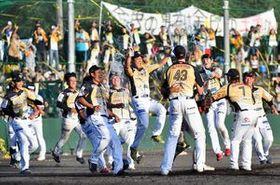東地区優勝を決め、マウンド上で喜ぶ栃木GBナイン=15日午後4時55分、小山運動公園野球場