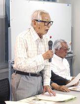 「ノーモア・ヒバクシャ記憶遺産を継承する会」の総会であいさつする岩佐幹三代表理事=25日午後、東京都千代田区