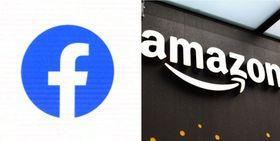 フェイスブック(左)とアマゾン・コムのロゴマーク