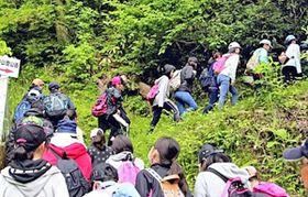 参加者でにぎわう登山道