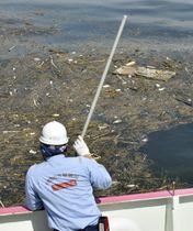 豪雨で海に流出した大量のごみ。畳も浮かんでいた=25日、広島県呉市沖