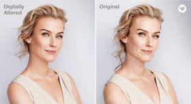 修整された写真(左)と修整を行っていない写真(CVSヘルス提供・共同)