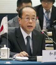 北京での初会合で発言する和泉洋人首相補佐官=25日(共同)