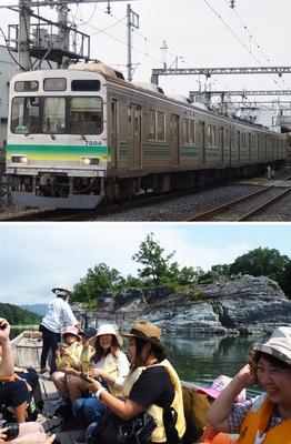 (上)東京急行電鉄のステンレス製車両(旧8090系)を譲り受け、改造した秩父鉄道の7500系=7月20日、埼玉県秩父市、(下)名物となっている荒川の「長瀞ライン下り」=7月20日、埼玉県長瀞町
