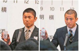 番号を読み上げる(左)明豊の表主将(右)大分の足立主将=15日、大阪市内