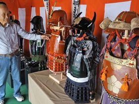 亀岡祭の宵々山で展示する手作り甲冑(亀岡市北町)