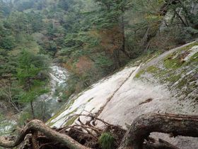 足場がなくなり、急斜面がむき出しになった大崩山の三里河原モチダ谷コースの一部(延岡市北川総合支所提供)