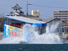 琵琶湖にダイブする水陸両用観光バス(長浜市港町・長浜港)=提供