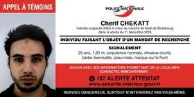 12日、フランス警察が公開した、ストラスブール銃乱射テロのシェリフ・シェカット容疑者の顔写真(同警察提供・ロイター=共同)