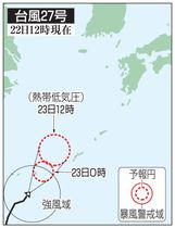 台風27号の予想進路(22日12時現在)