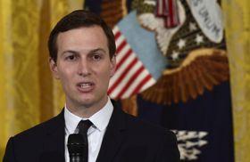米ホワイトハウスで語るクシュナー大統領上級顧問=5月(AP=共同)