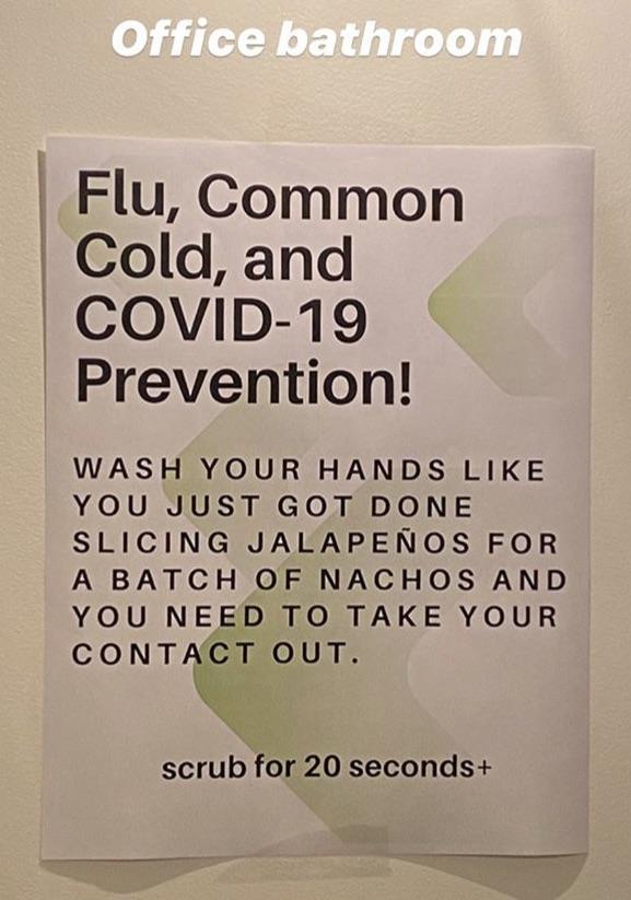 アメリカのオフィスに張られた、新型コロナウイルス対策として手洗いの徹底を促す貼り紙