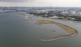 東京都江戸川区の葛西海浜公園。ラムサール条約の保全対象リストに登録された=17日(共同通信社ヘリから)