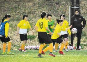 始動したユースチームの練習でボールを追う1期生たち。右端は小川監督=仙台市泉区の仙台白百合学園