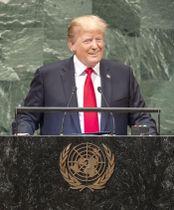 25日、国連総会で演説するトランプ米大統領=米ニューヨーク(国連提供・共同)