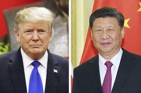 トランプ米大統領(AP=共同)、中国の習近平国家主席