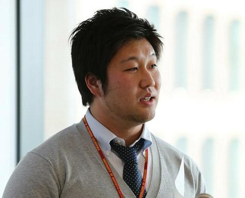 「Athlete of Japan」を主催する富士通のTE白木さん=17日、汐留、撮影:Yosei Kozano