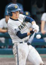一回表、桜丘無死一塁。大澤が中前打を放つ=県立野球場