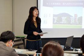 NIEの取り組みを報告する実践校の担当教員=鹿児島市の南日本新聞会館