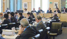 2014年8月、ジュネーブで開かれた国連人種差別撤廃委員会の対日審査(共同)