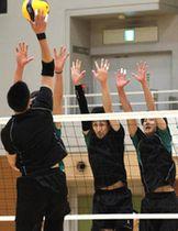 3枚ブロックの強化に取り組むJT広島の安永(右から2人目)たち