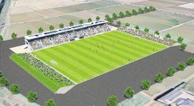 新富町に建設されるスタジアムの完成予想図(テゲバジャーロ宮崎提供)