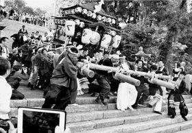 石段を駆け下りる屋台=吉野川市山川町の川田八幡神社