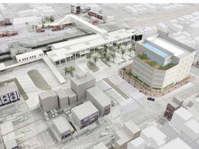 延岡駅西口再開発ビル(右)の完成予想図(延岡市提供)