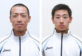 スケルトンの平昌冬季五輪代表に決まった高橋弘篤(左)、宮嶋克幸