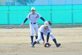 守備練習に励む八学光星の選手=秋田市の秋田南高野球場