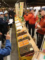 過去最高の1キロ5万5000円の高値が付いた完熟きんかん「たまたま」の初競り=14日午前、宮崎市中央卸売市場