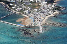 米軍普天間飛行場の移設先として、埋め立て工事が進む沖縄県名護市辺野古の沿岸部=23日午後1時23分(共同通信社機から)
