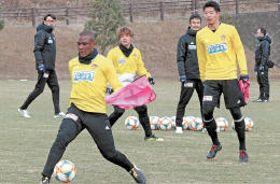 仙台に加入内定し、チームメートと練習に汗を流すシマオマテ(手前)。後方左は渡辺監督=10日、仙台市泉サッカー場