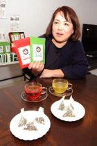 宮島茶の特徴を説明する広瀬社長